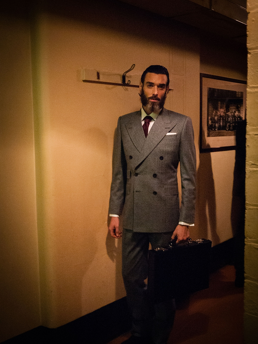 Classic grey flannel double breasted suit - Edward Sexton