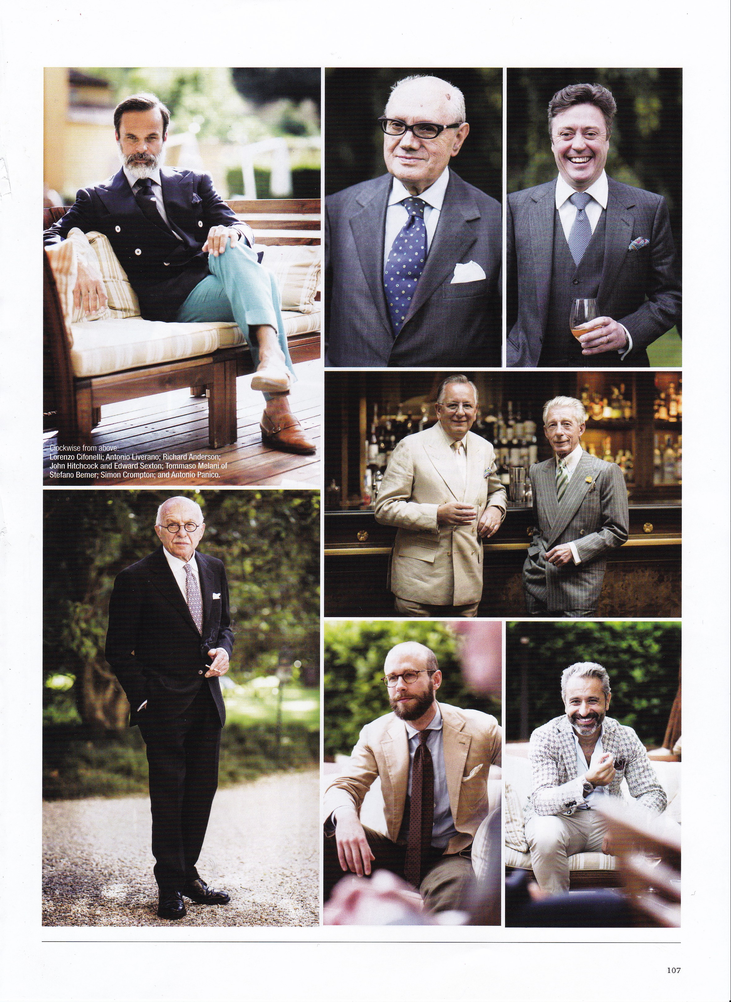 Special feature article on Savile Row Tailors featuring Edward Sexton, centre right