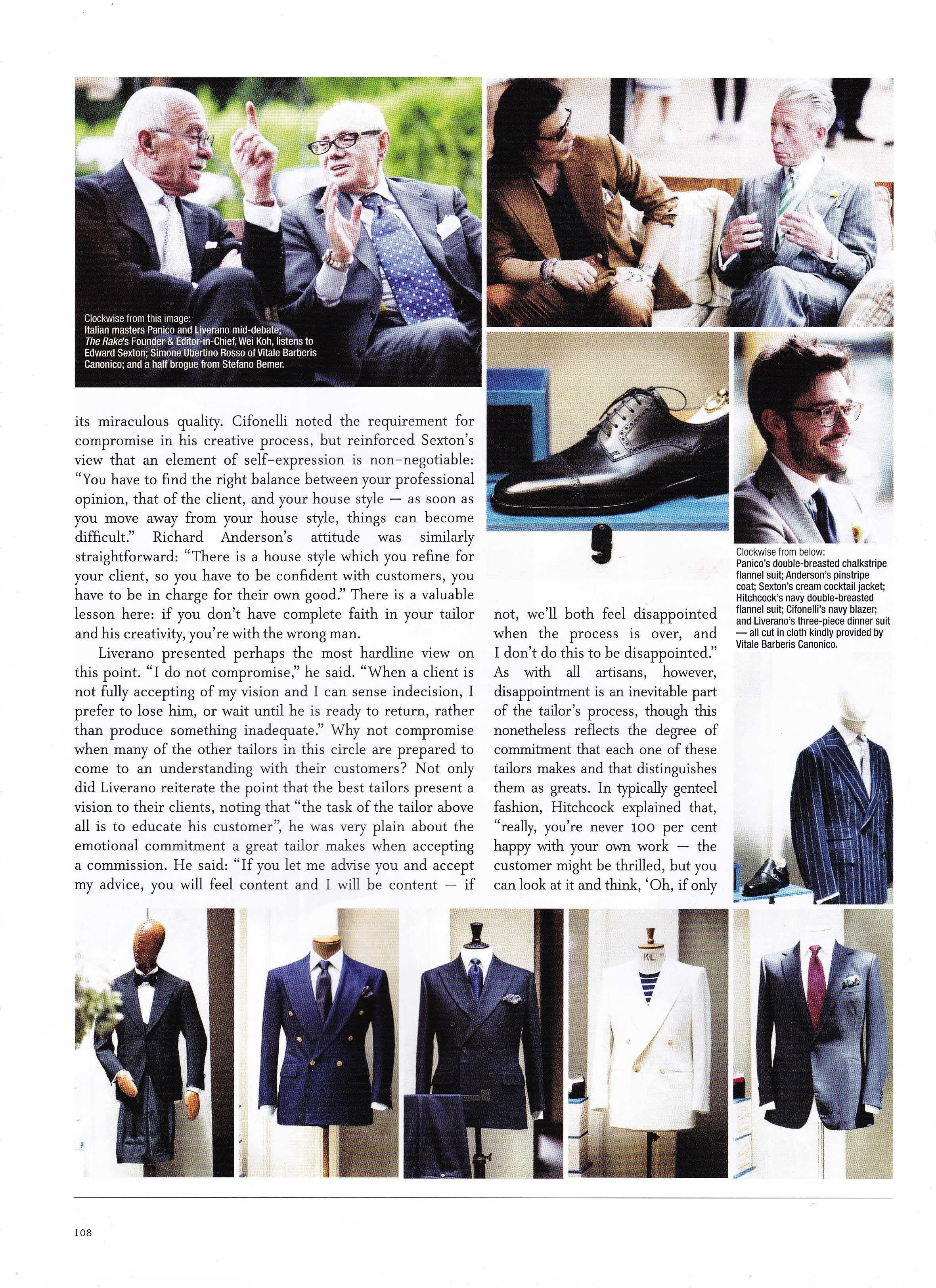 Bespoke Tailor Edward Sexton, top right, in conversation with The Rake's Wei Koh
