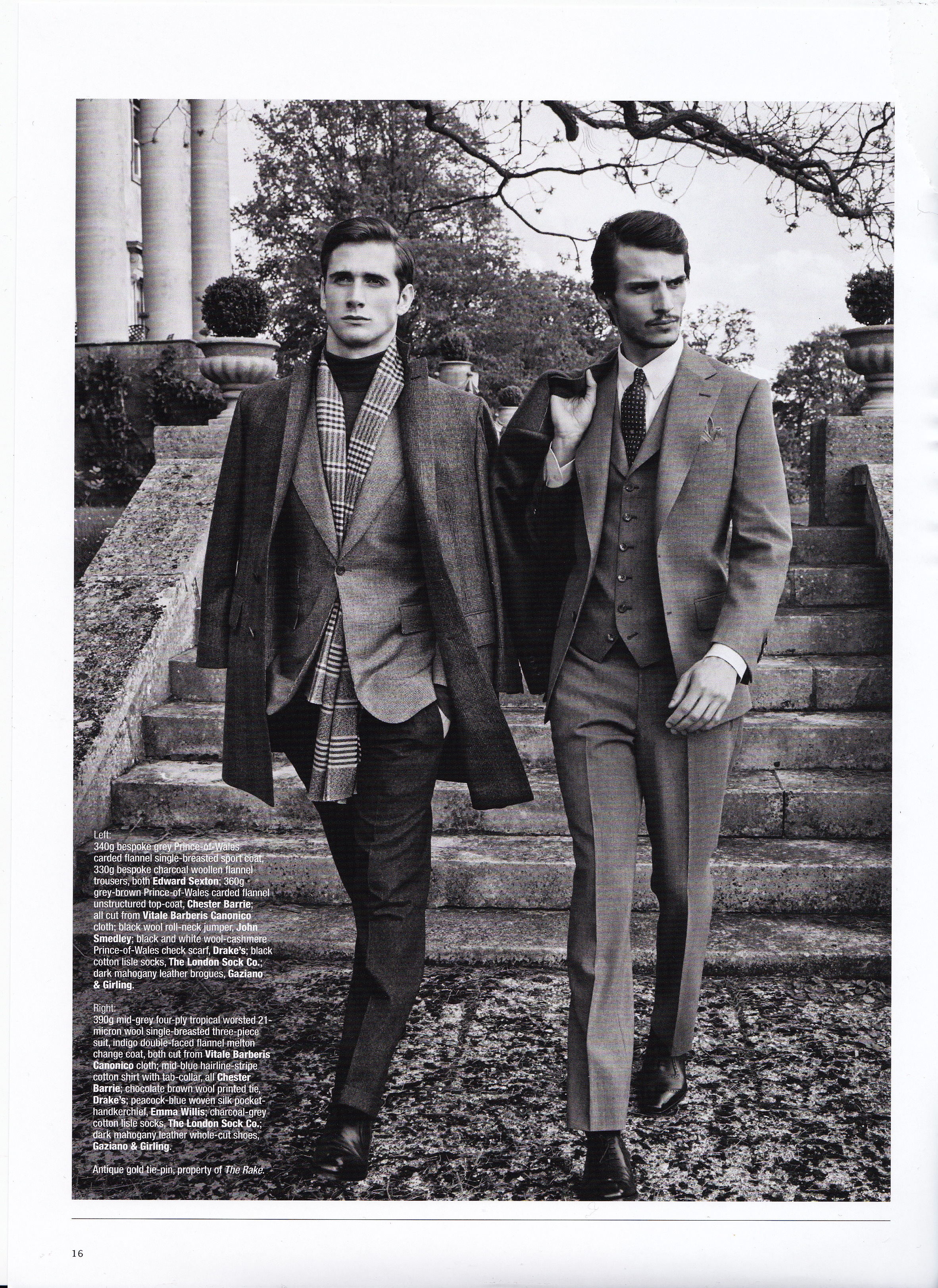 The Rake Magazine Issue 39. On left: Edward Sexton Bespoke grey Prince-Of-Wales carded flannel single breasted sport coat and bespoke charcoal woollen flannel trousers