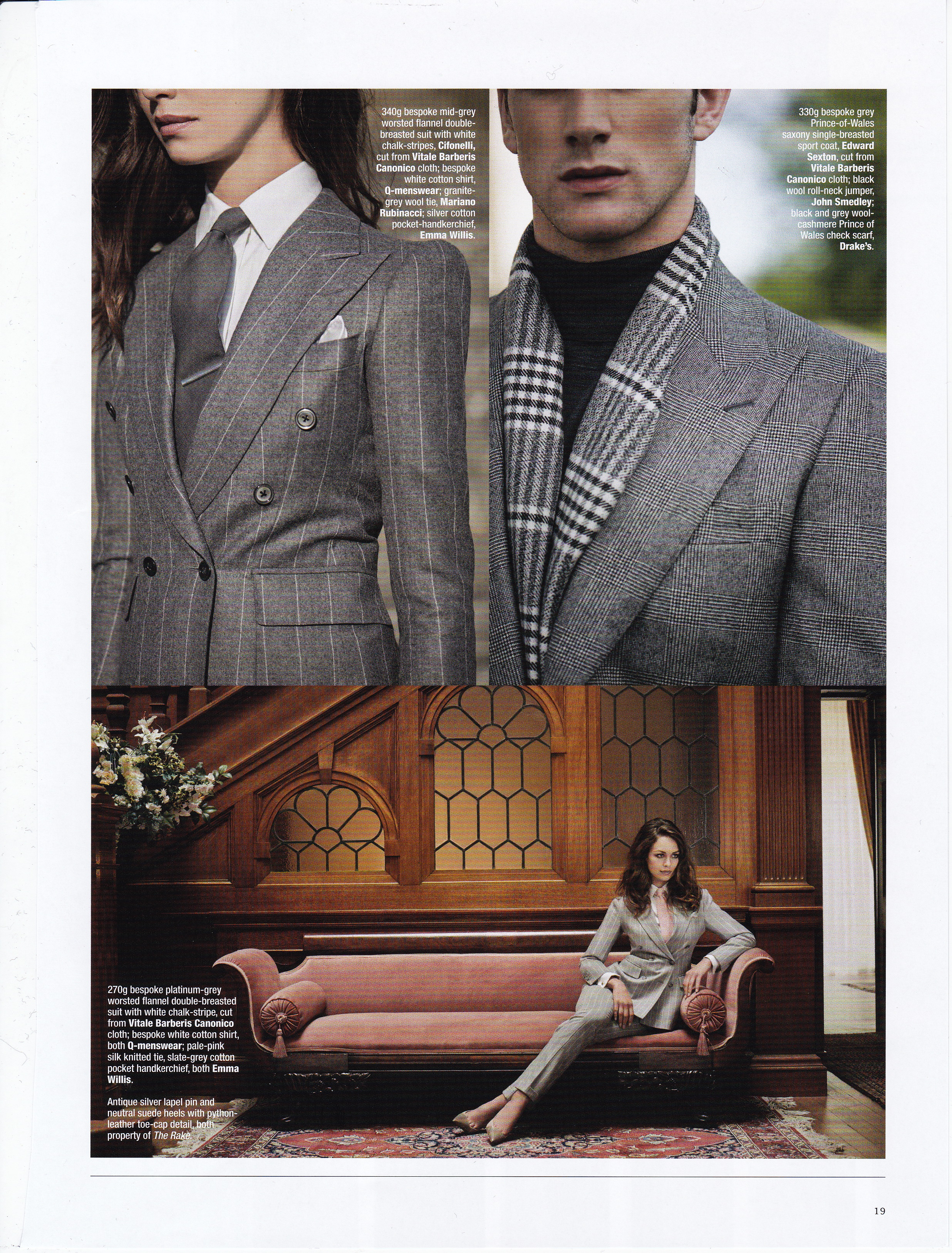 The Rake Magazine Issue 39. Top Right: Edward Sexton Bespoke grey Prince-Of-Wales saxony single breasted sport coat