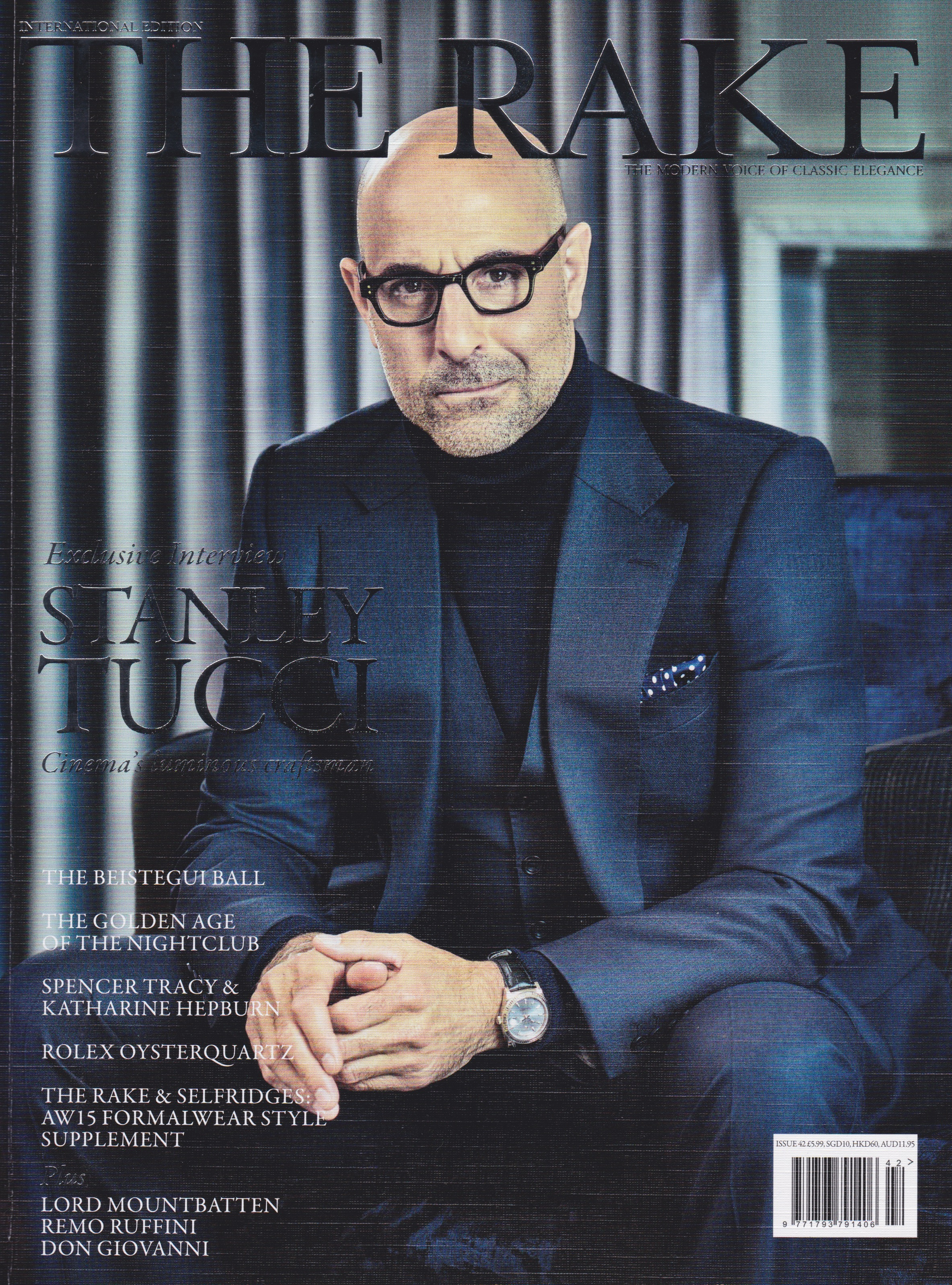 The Rake Magazine Issue 42: Stanley Tucci wears Edward Sexton