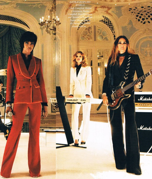 Girl Panic by Duran Duran – indy Crawford, Eva Herzigova Naomi Campbell and Yasmin Le Bon wearing suits By Edward Sexton.