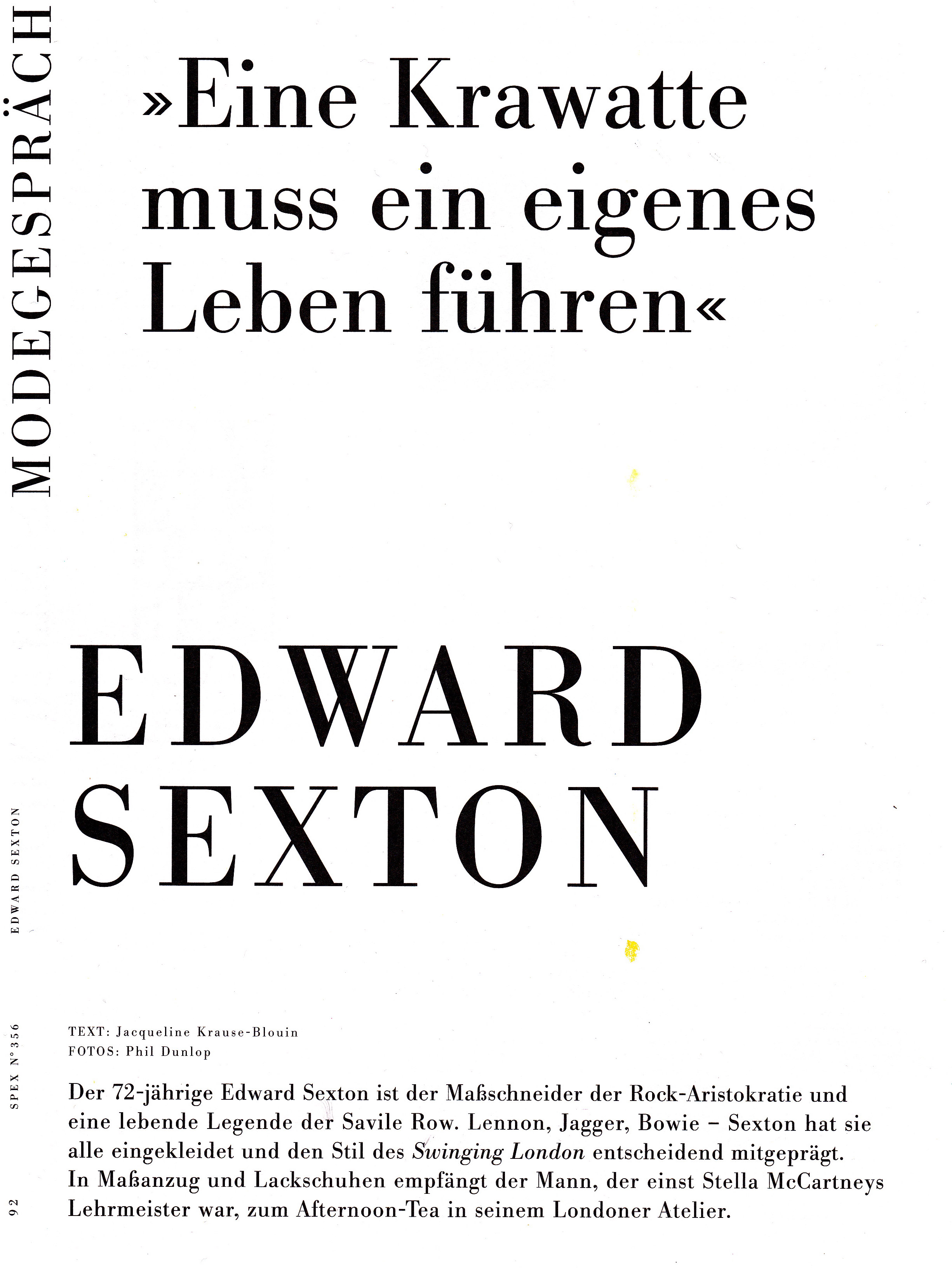 Edward Sexton German Article