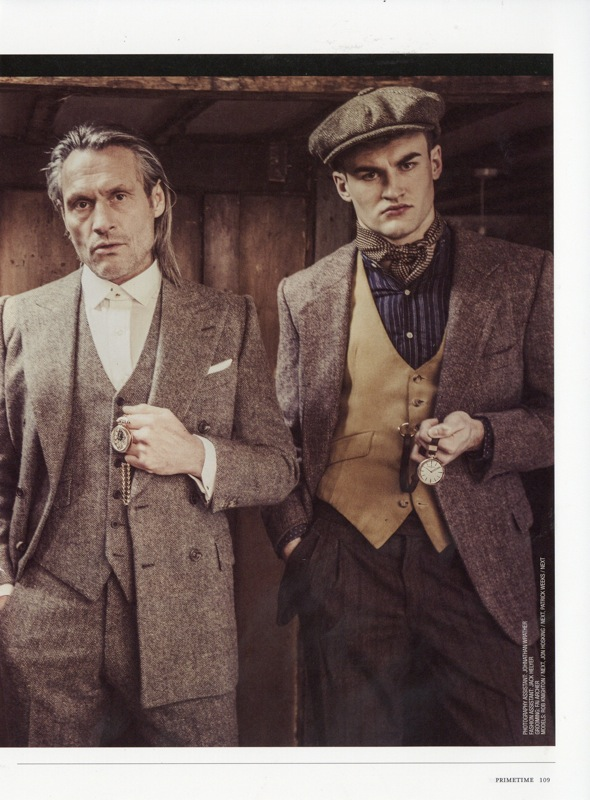 Left Edward Sexton three piece Irish Donegal tweed suit. Right Edward Sexton mustard brushed cotton u-shapped waistcoat