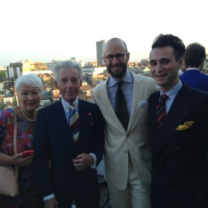 Simon Crompton Edward Sexton and Dominic Sebag- Montefiore at the Rake LCM party at Claridges