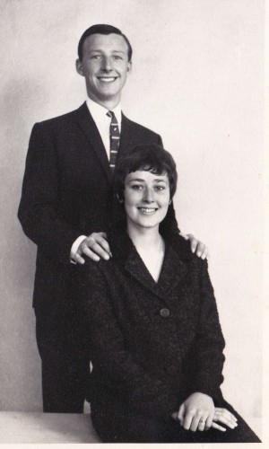 Edward Sexton and his wife in the early 1960s dressed in original mod tailored suits