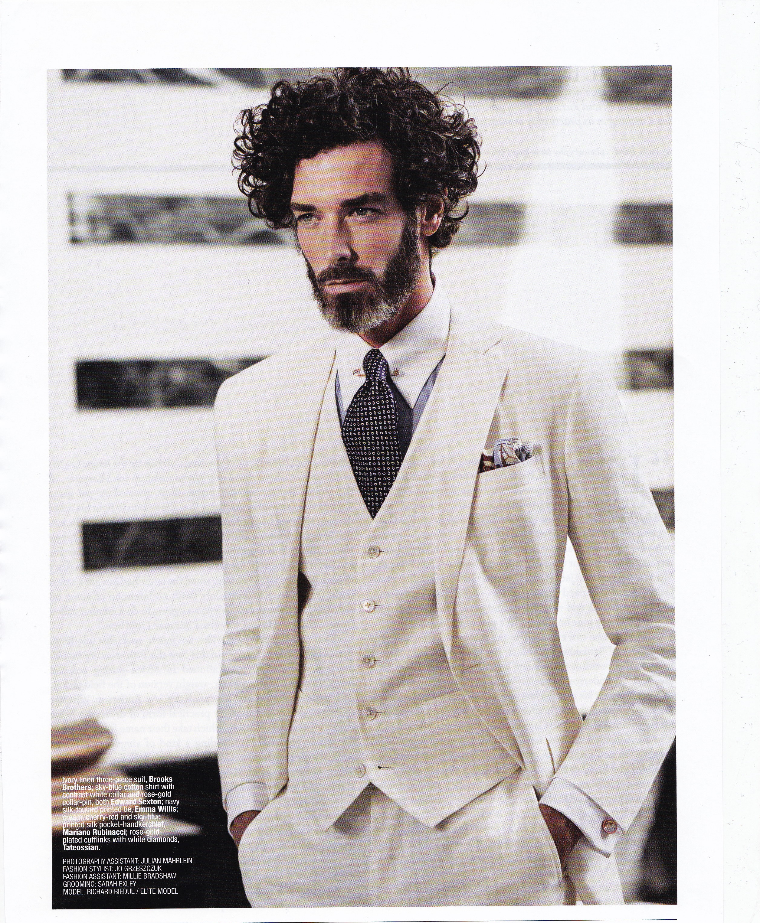The Rake Magazine Issue 40. Edward Sexton sky blue cotton shirt with contrast white collar and rose gold tie pin
