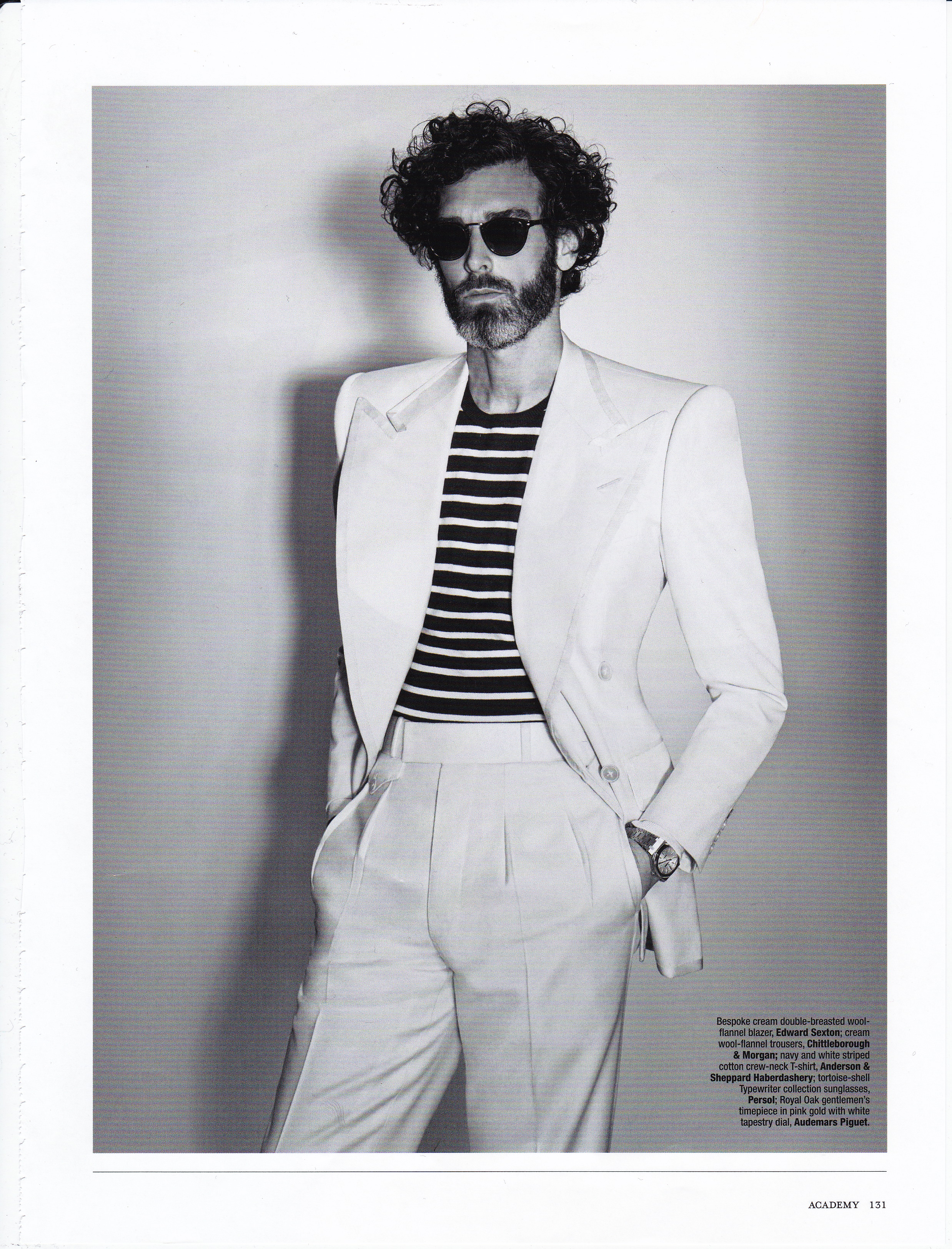 9edcf6f09f5c6b The Rake Magazine Issue 40, editorial features 'Men In White' and 'L'Eau  Sauvage'. Top: Edward Sexton sky blue cotton shirt with contrast white  collar ...