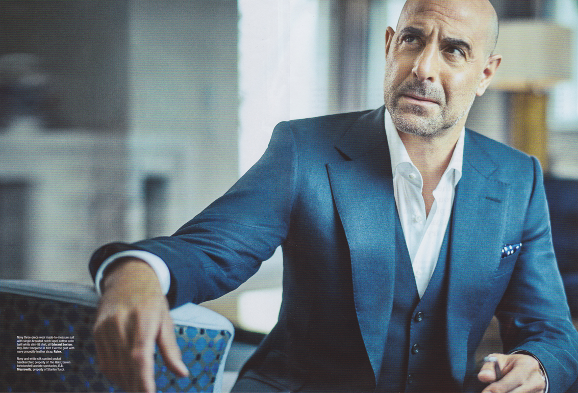 Stanley Tucci in Edward Sexton suit and shirt